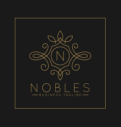 Luxurious letter n logo with classic line art vector