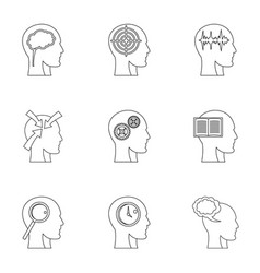 Man head with thoughts icons set outline style vector