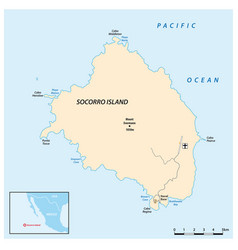 Map mexican pacific island socorro vector