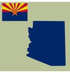 map us state arizona with flag vector image