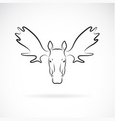 moose deer head design on white background wild vector image