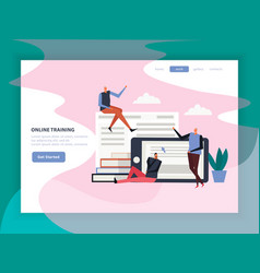 Online training flat landing page vector