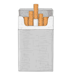 Pack cigarettes hand drawn sketch vector