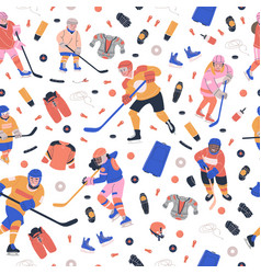 Pattern with ice hockey equipment and happy kids vector