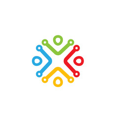 people technology circle four logo vector image