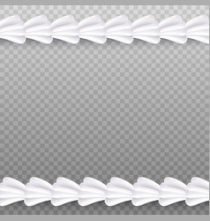 Realistic white whipped cream line border isolated vector