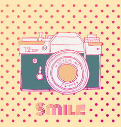 Retro hand drawn hipster photo camera isolated on vector