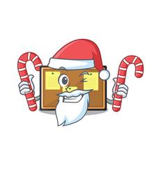 Santa with candy toy bulletin board on cartoon vector