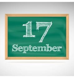 September 17 inscription in chalk on a blackboard vector