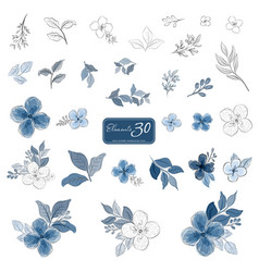 Set blue flowers and leaves watercolor style vector