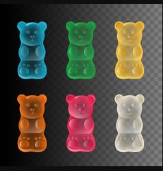 set colorful gummy bears vector image