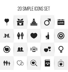 Set of 20 editable heart icons includes symbols vector