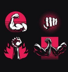 silhouette fitness gym bodybuilding arm hand icon vector image