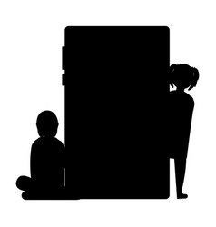 silhouette girl with smartphone device vector image