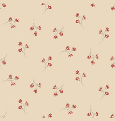 Simple ditsy red flowers seamless pattern vector
