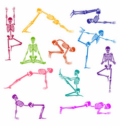 skeletons in a yoga pose seamless pattern vector image
