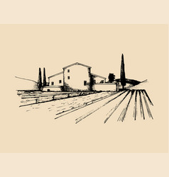 Sketch of villa peasants house in fields vector