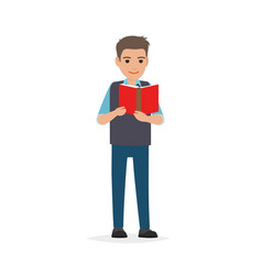 student standing and reading textbook flat vector image