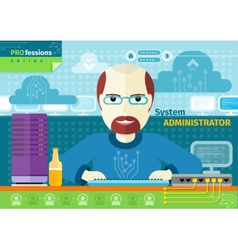 System administrator with computer in data centre vector