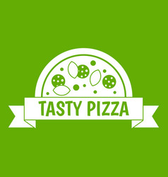 tasty pizza sign icon green vector image