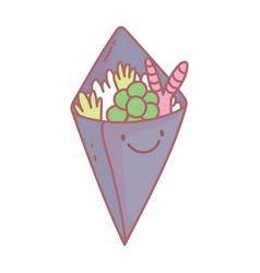 Temaki sushi menu restaurant cartoon food cute vector