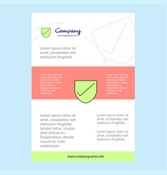 Template layout for sheild comany profile annual vector