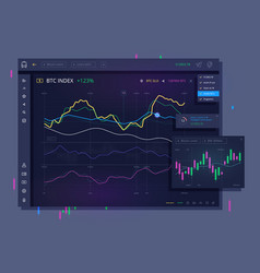 Trade dashboard for bitcoin vector