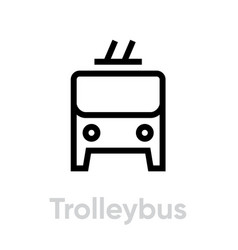 trolleybus icon editable line electric bus vector image