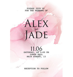 Watercolor pink cloud with wedding invitation vector