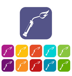 welding torch icons set flat vector image