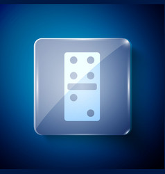 White domino icon isolated on blue background vector