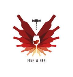 wine bottles with glass logo cellar screw vector image