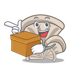 with box oyster mushroom character cartoon vector image