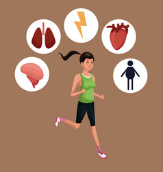Woman sports training healthy vector