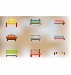 Wooden benches set vector
