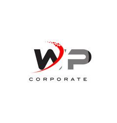 Wp modern letter logo design with swoosh vector