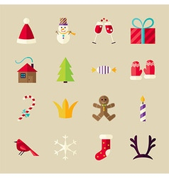 Flat Winter Happy New Year Objects Set vector image vector image