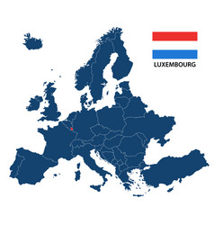 map of europe with highlighted luxembourg vector image vector image