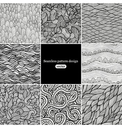 Set of eight black and white wave patterns vector image