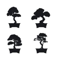 Bonsai set Black silhouette of bonsai vector image vector image