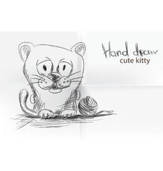cute cartoon kitty vector image vector image