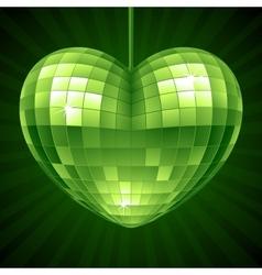 Disco Heart Green mirror disco ball vector image vector image