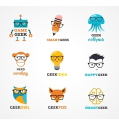 Geek nerd smart hipster icons and symbols vector image vector image