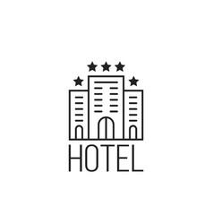 linear simple icon of luxury hotel with stars vector image vector image