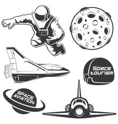 Set of vintage space elements vector image vector image