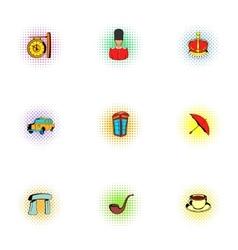 United Kingdom icons set pop-art style vector image vector image