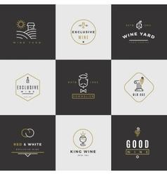 Wine card logo set vector image