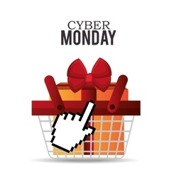 Basket gift cyber monday design vector