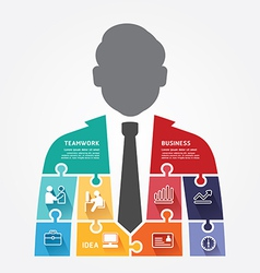businessman infographic Template jigsaw banner vector image vector image