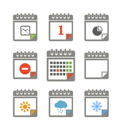 Calendar icons collection vector image vector image